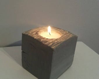 Pallet wood candle holder - paint gray speckled effect