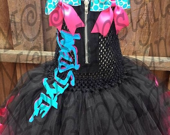 "Lego Movie ""WyldStyle"" Inspired Tutu Dress with Matching Hair Bows"