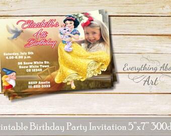 Snow White birthday invitation, Snow White invitation, Printable birthday invitation with photo, Princess Snow White invite, seven dwarfs