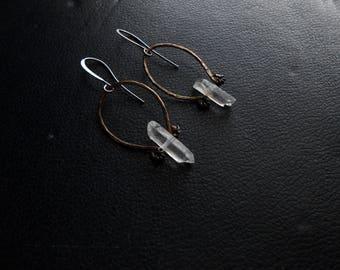 second sight ii  - mini hoops crystal brass hoop earrings witchy earrings hammered hoop earrings hand forged hoops occult inspired earrings