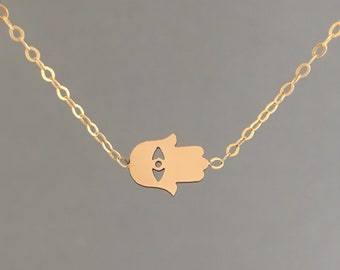 Hamsa Gold Necklace also in Silver and Rose Gold