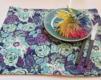 Modern Lilac Placemats, Teal Placemats, Fabric Flower Placemats, Set of 4
