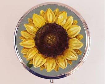 Sunflower Pill Box Case Pillbox Holder Trinket Stash Box Sun Flower Flowers Floral