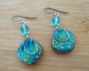 Dainty Polymer Clay Glazed Textured Earrings. Titanium Ear Wires for sensitive ears. Abstract/Bohemian/Retro/Artisan
