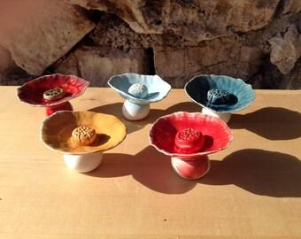 Glazed ceramic button flowers