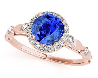 1.20 Ct. Halo Tanzanite And Diamond Engagement Wedding  Ring In 14k Gold