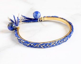 Bangle Bracelet lapis lazuli beads