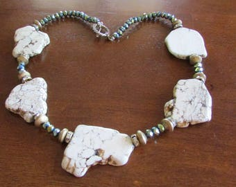 Crystal beads, Stone Slabs, Rhinestones and Toggle Clasp Necklace