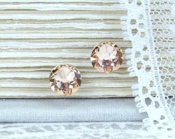 Peach Studs Crystal Stud Earrings Rhinestone Studs Peach Stud Earrings Swarovski Studs Surgical Steel Studs