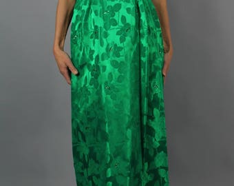Vintage 1960's green satin damask evening dress // party dress // prom dress // waist 27""