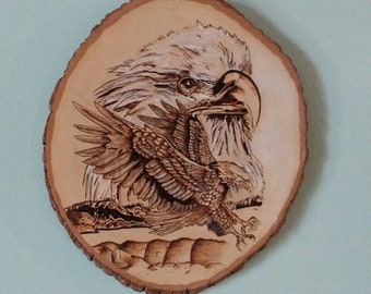 Two Eagles, Bald Eagles,  Wood Burned Bald Eagles on Basswood, Handmade
