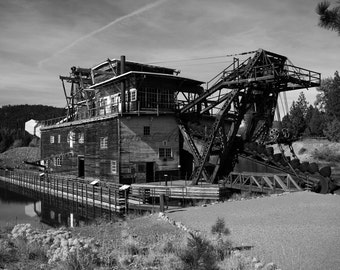 Sumpter Mining Dredge Photo - Old Mining Dredge Photo - Choose Color or Black and White - Rustic Wall Art