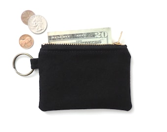 Canvas Keychain Coin Purse Slim Wallet Zipper Pouch Black