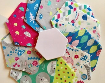 SUMMER SALE ! Patchwork quilt Fabric Hexagons and papers for English Paper Piecing