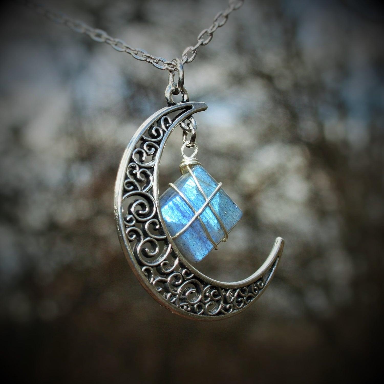 Labradorite Necklace Long, Labradorite Pendant Moon, Wire Wrapped ...