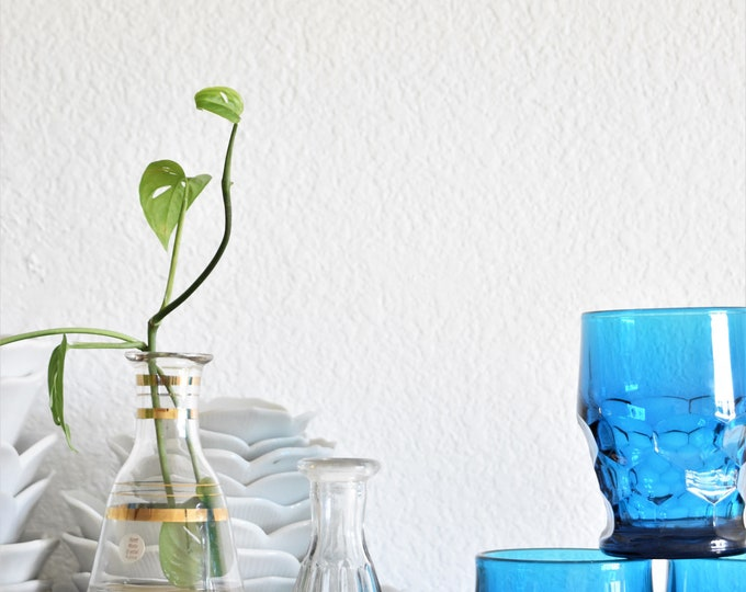 modern intricate blue glass flower bud vase / propagating