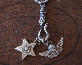 Snake Charmer - Solid Silver Antique Charm Necklace with Hand Holding Snake Hook, Star and Winged Cherub Charms