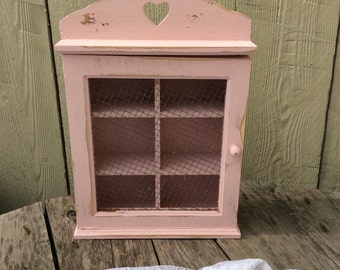 Shabby Chic Pink Curio Cabinet with Chicken Wire Face
