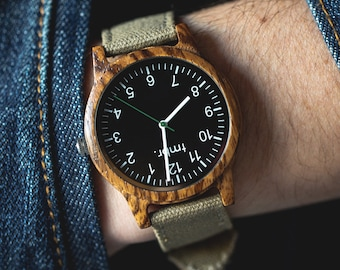 Father's Day Gift, Gift For Dad, Real Wood Watch, Canvas Strap Wood Watch, Gifts For Dad - RIDGE-ZB