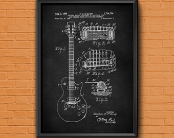 Guitar Art, patent print, guitar patent, patent art, guitar poster, guitar print, electric guitar, guitar wall art, guitar decor