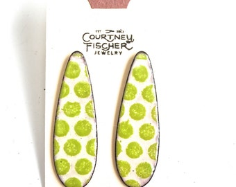 Chartreuse and Cream Enamel Stud Earrings