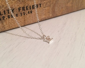 Sterling Silver Solid Initial Charm Necklace, Personalised Necklace, Wedding Jewellery, Bridesmaid Favour