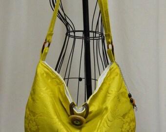 Soft Slouch Shoulder Bag in Citrus Damask OOAK