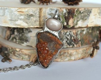 SPESSARTINE garnet on smoky quartz and MOONSTONE,raw stone necklace,spessartine garnet crystal pendant,creamy moonstone necklace,old silver