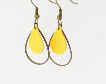 Leather earrings double drops yellow pepper Crackle effect was