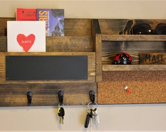 Home Office, Mail Organizer, Rustic Organizer, Key Holder, Mail Holder, File Holder, Cork Board, Chalk Board, Wall Organizer
