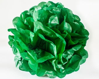 "CLEARANCE - Green 12"" tissue paper Pom Pom.  Paper decorations.  Party decor.  Tissue poms.  Hanging party decoration.  Hanging paper decor."