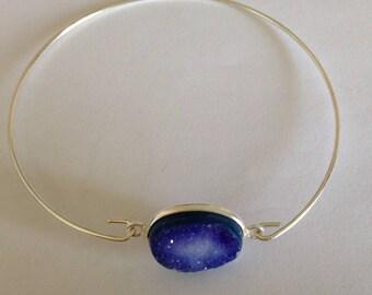 Silver Druzy Bangle Bracelet