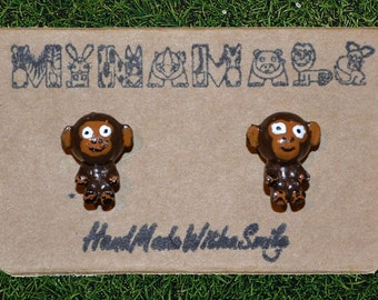 MINAMALS - Handcrafted, Hand Painted Porcelain Monkey Earrings