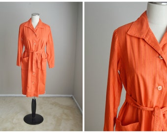 vintage 50s orange cotton house day shift pockets dress with belt-- womens medium
