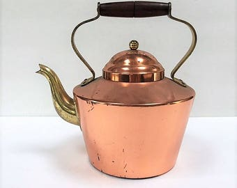 Vintage Tagus Copper Tea Pot Made in Portugal Rustic Farmhouse Kitchen Copper Kettle