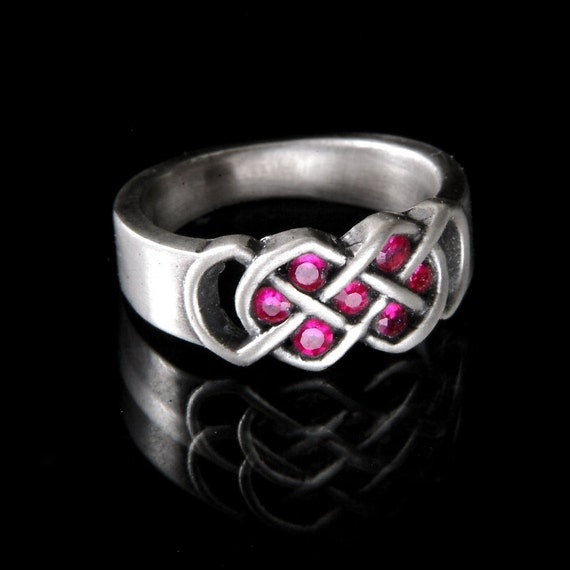 Celtic Ruby Wedding Ring With Infinity Knot Design in Sterling Silver, Made in Your Size CR-771