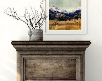 "Rocky Mountain National Park Print, Mixed Media Print, Colorado Print, Landscape Print, Colorado Gift, 8""x10"" or 11""x14"", ""Rocky Mountains"""