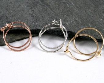 Sterling Silver, Rose Gold & Gold Filled Small Sleeper Hoop Earrings