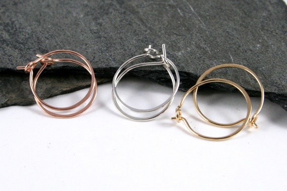 Sterling Silver, Rose Gold & Gold Filled Small Sleeper Hoop Earrings