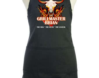 Personalized Men's Apron, Grillmaster The Man The Myth The Legend, Custom Bbq Apron