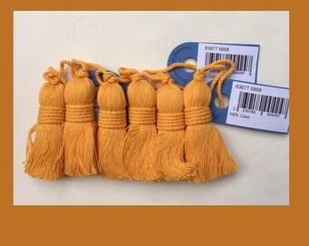 Set of 6 sotton thread tassel, 6 inches, daffodil