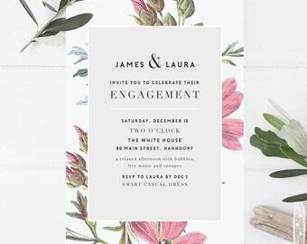 Botanical engagement invitation, printable engagement invitation, digital invitation, floral engagement, engagement party, peony