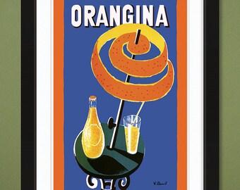 Vintage Advertising – Orangina – Parasol  (1950s) by Bernard Villemot (12x18 Heavyweight Art Print)