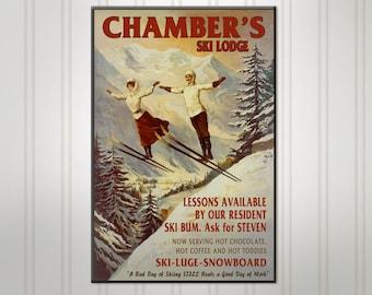 Personalized Ski Lodge Sign, Custom Ski Couple Bar Sign, Pub Sign