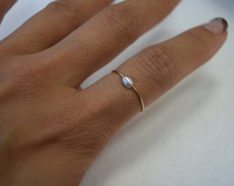Freshwater pearl ring, MIDI ring, fashion ring, gold plated, dainty pearl ring