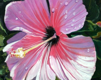 Pink Hibiscus with Rain Drops 8x10 print from Kauai Hawaii pink purple magenta