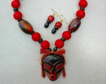 Tsonokwa Shaman Mask, Northwest Coast Salish, by Artie George, Horn/Wood/Rare Ethiopian Glass Beads, Statement Necklace Set by SandraDesigns