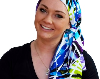 Carlee Pre-Tied Head Scarf, Women's Cancer Headwear, Chemo Scarf, Alopecia Hat, Head Wrap, Head Cover for Hair Loss - Purple, Blue Tropics