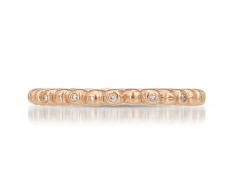 2mm Diamond Eternity Band | Rose Gold Diamond Wedding Ring | Women's diamond wedding ring| 14k 18k rose gold and diamond ring