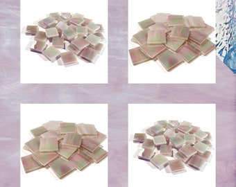 Pale Purple Iridized Squares Stained Glass Mosaic Tiles Opal Hand Cut